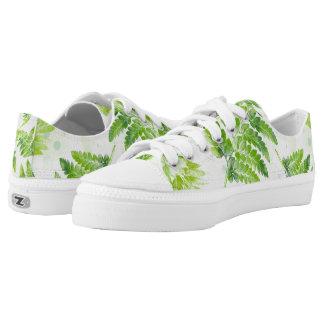 Lovely Green Fern Botanical Watercolor Pattern Low Tops