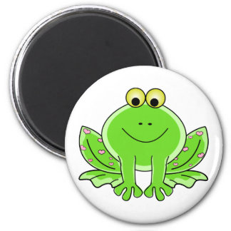 Lovely Green Frog with Hearts 6 Cm Round Magnet