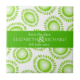 Lovely green funky flowers Save the date Tile