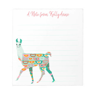 Lovely Green Llama Personalized Lined Notepad
