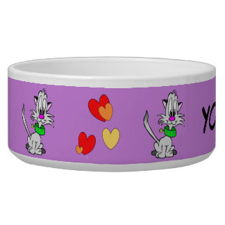 Lovely Grey Cat Cartoon Cust. Pet Bowl