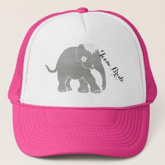 Lovely Grey Team Bride Vintage Elephant Trucker Hat