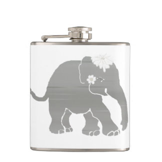 Lovely Grey Vintage Elephant Bride Hip Flask