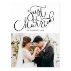 Lovely Hand Lettered Just Married Photo Wedding Postcard