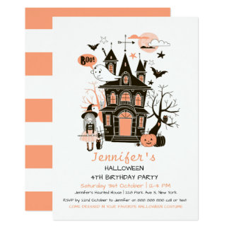 Lovely Haunted House Kids Birthday Halloween Invit Card