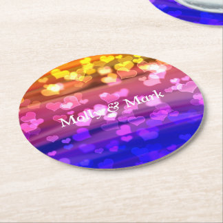 Lovely Hearts, Bokeh Round Paper Coaster