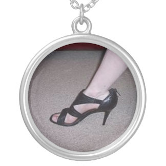 Lovely Heels Round Pendant Necklace