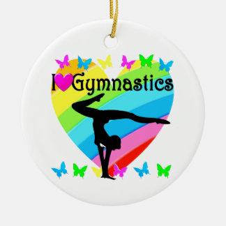 LOVELY I LOVE GYMNASTICS DESIGN ROUND CERAMIC DECORATION