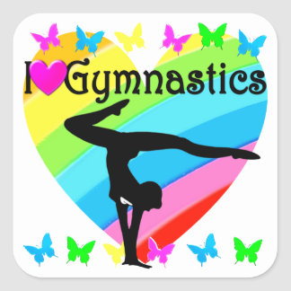 LOVELY I LOVE GYMNASTICS DESIGN SQUARE STICKER