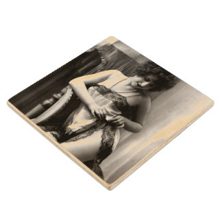 Lovely in Lace Vintage Pin-Up Wood Coaster