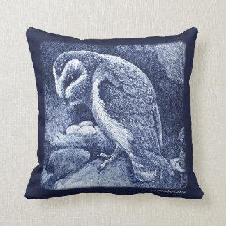 Lovely indigo blue owl & nest throw pillow. throw pillow