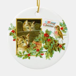 Lovely Kitties and Robin | Cute Vintage Christmas Ceramic Ornament