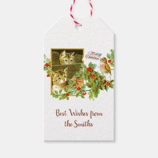 Lovely Kitties and Robin | Cute Vintage Christmas Gift Tags