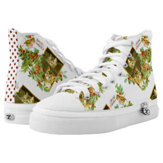 Lovely Kitties and Robin | Cute Vintage Christmas High Tops
