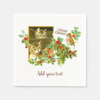Lovely Kitties and Robin | Cute Vintage Christmas Paper Napkins