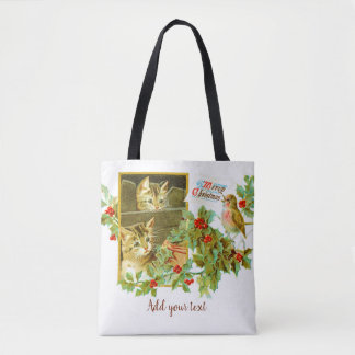Lovely Kitties and Robin | Cute Vintage Christmas Tote Bag
