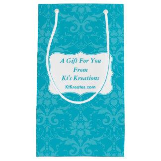 Lovely Labels Blue Damask Small Gift Bag