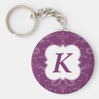 Lovely Labels Purple Damask Custom Initial Key Ring