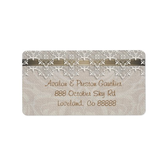 Lovely Lace & Burlap Chic Address Label