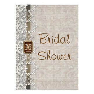 Lovely Lace & Burlap Chic Bridal Shower Invitation
