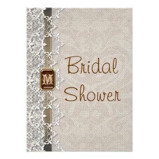 Lovely Lace Burlap Chic Bridal Shower Invitation