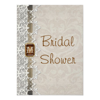 Lovely Lace & Burlap Chic Bridal Shower Invitation