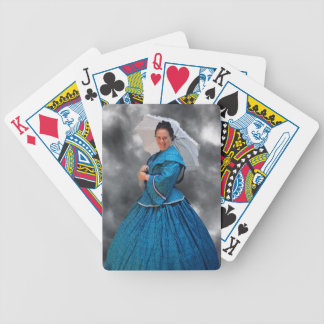 Lovely Lady in blue living in the 1860's Poker Deck