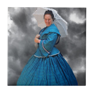 Lovely Lady in blue living in the 1860's Small Square Tile