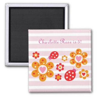 Lovely Ladybird Flowers Birthday Magnet