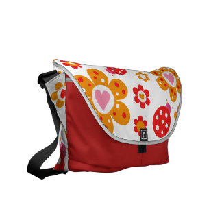 Lovely Ladybird Flowers Messenger Bag