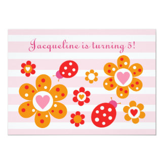 "Lovely Ladybird Flowers Party Invite 5"" X 7"" Invitation Card"