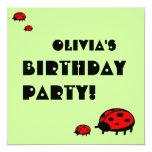 Lovely Ladybug Birthday Party Invitation Olivia 13 Cm X 13 Cm Square Invitation Card