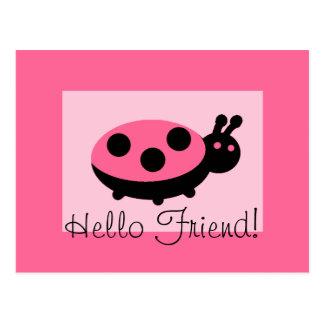 "Lovely Ladybug ""Hello Friend"" Postcard"