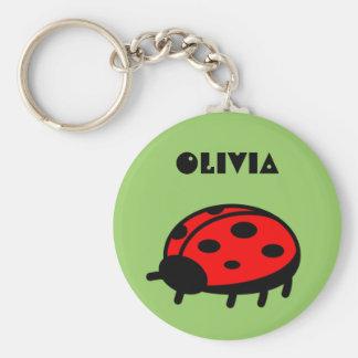 Lovely Ladybug Name Keychain Olivia