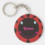 Lovely Ladybug Personalised Name Keyrings Basic Round Button Key Ring