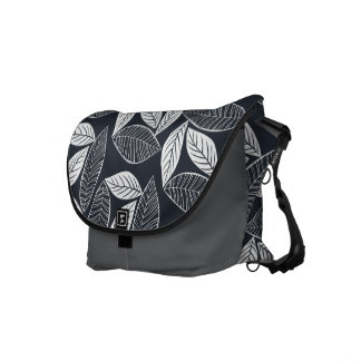 Lovely Leaves Black and White Messenger Bag