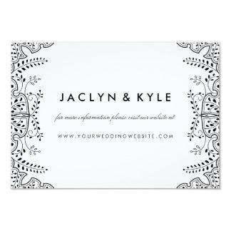 Lovely Leaves Black Insert Card Wedding Website 9 Cm X 13 Cm Invitation Card