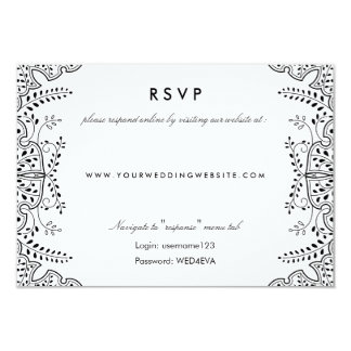 Lovely Leaves Black RSVP Online Website Card