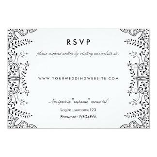 Lovely Leaves Black RSVP Online Website Card 9 Cm X 13 Cm Invitation Card