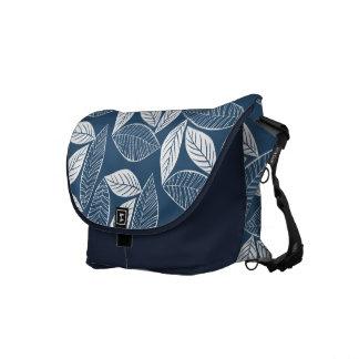 Lovely Leaves Midnight Blue & White Messenger Bag