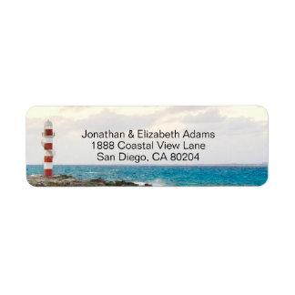 Lovely Lighthouse Ocean Beach Return Address Label