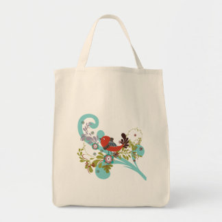 lovely little bird in a tree vector grocery tote bag