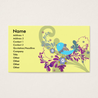 lovely little blue bird vector business card