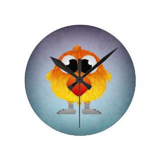 Lovely Little Orange And Yellow Bird Round Clock