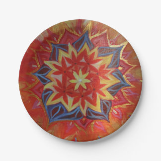 Lovely Mandala Custom Paper Plates 7 in