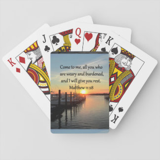 LOVELY MATTHEW 11:28 SUNSET SCRIPTURE PLAYING CARDS