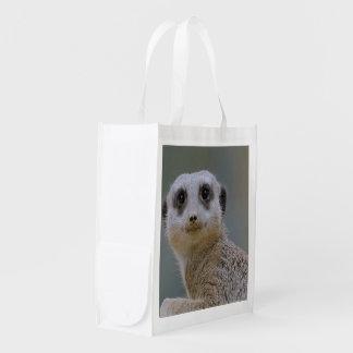 Lovely meerkat reusable grocery bag