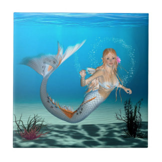 Lovely Mermaid Small Square Tile