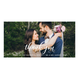 Lovely Modern Calligraphy Wedding Thank You Card