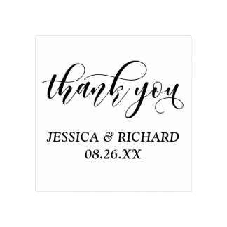 Lovely Modern Calligraphy Wedding Thank You Rubber Stamp